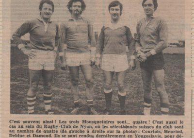 Internationaux Nyonnais pour Yougoslavie-Suisse 25.04.1976
