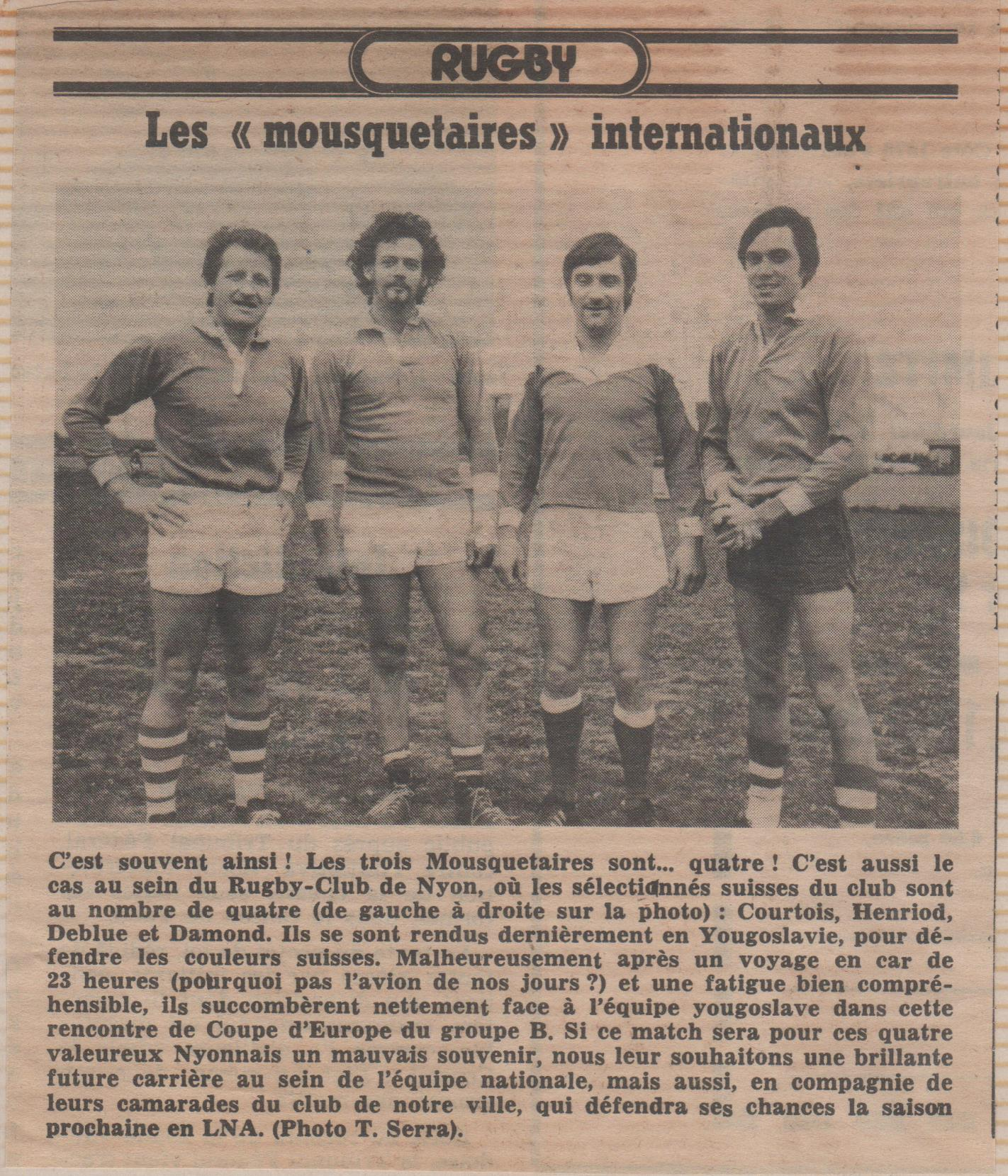 Internationaux Nyonnais pour Yougoslavie-Suisse 25.04.1976